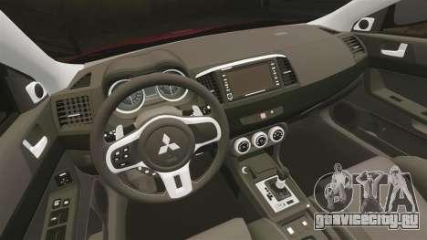 Mitsubishi Lancer Evolution X GSR 2008 для GTA 4 вид изнутри
