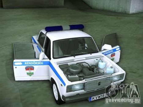 Lada 2107 Rendőrség для GTA San Andreas вид сбоку