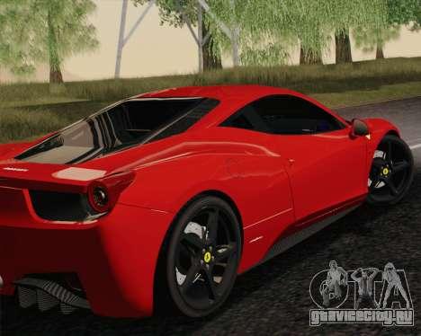 Ferrari 458 Italia 2010 для GTA San Andreas вид слева