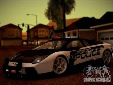 Lamborghini Murciélago Police 2005 для GTA San Andreas вид сзади