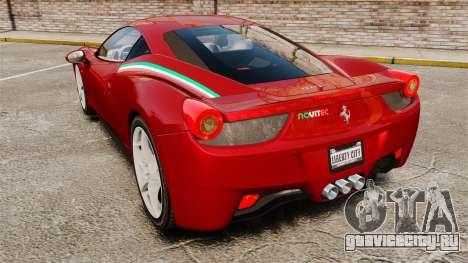 Ferrari 458 Italia 2010 Novitec для GTA 4 вид сзади слева