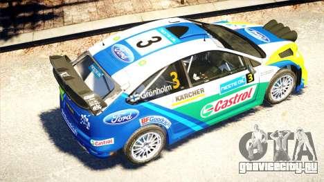 Ford Focus RS M Gronholm Rally Finland WRC для GTA 4 вид изнутри