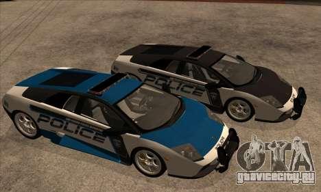 Lamborghini Murciélago Police 2005 для GTA San Andreas вид изнутри
