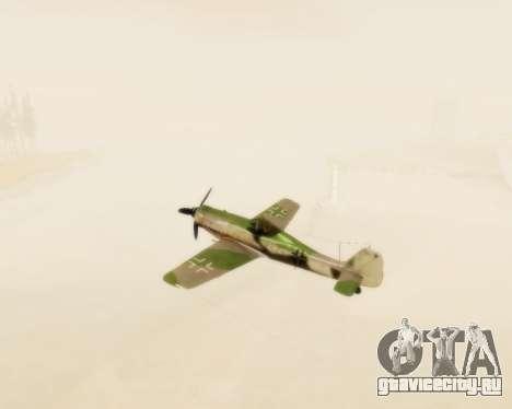 Focke-Wulf FW-190 D12 для GTA San Andreas вид изнутри