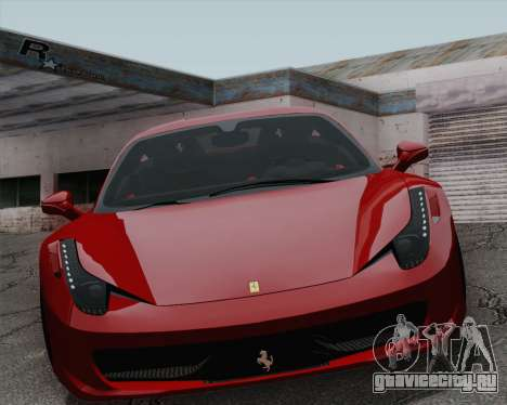 Ferrari 458 Italia 2010 для GTA San Andreas вид изнутри
