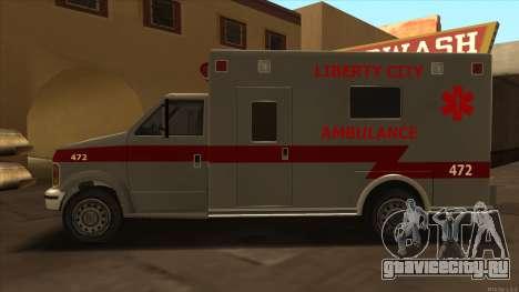 Ambulance HD from GTA 3 для GTA San Andreas вид слева
