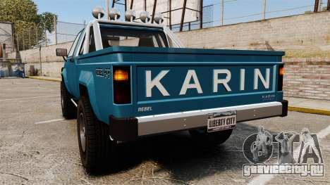 Karin Rebel 4x4 v2.0 для GTA 4 вид сзади слева