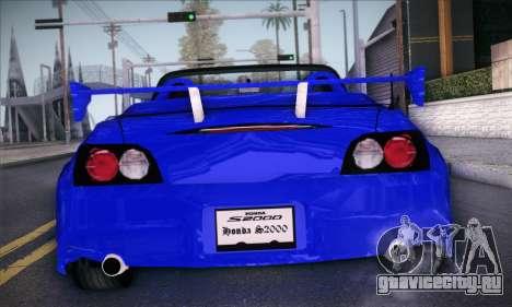 Honda S2000 для GTA San Andreas вид сзади