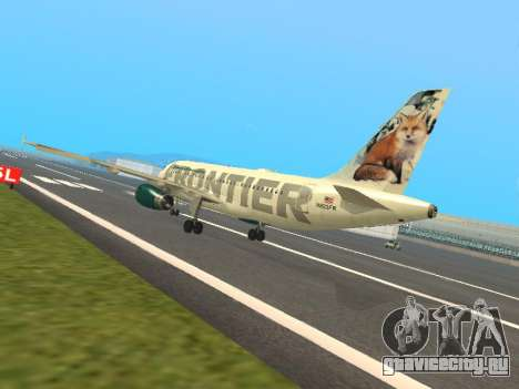 Airbus A319-111 Frontier Airlines Red Foxy для GTA San Andreas вид сзади слева