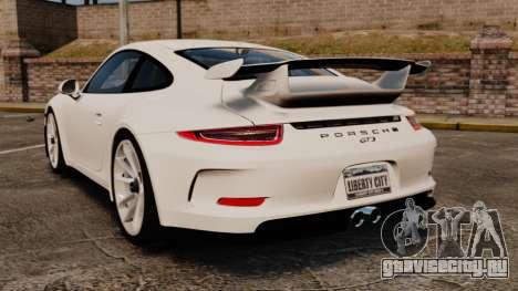 Porsche 911 GT3 (991) 2013 для GTA 4 вид сзади слева