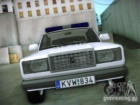 Lada 2107 Rendőrség для GTA San Andreas вид сзади