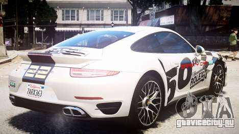 Porsche 911 Turbo 2014 для GTA 4 вид сзади слева