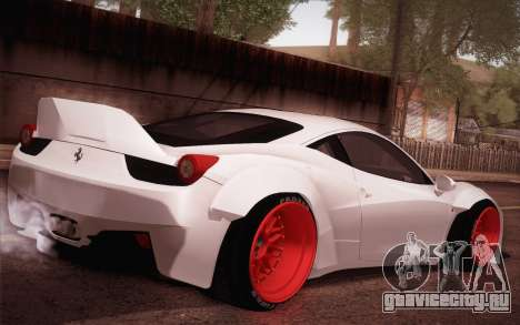 Ferrari 458 Italia Liberty Walk LB Performance для GTA San Andreas вид сзади слева