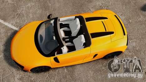 Audi R8 GT Spyder для GTA 4 вид справа