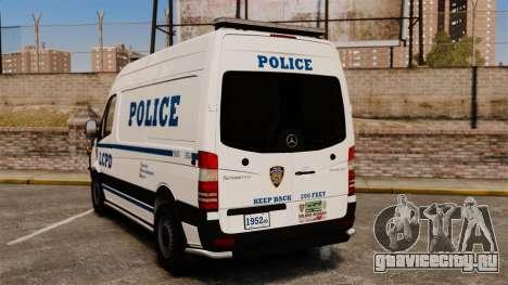 Mercedes-Benz Sprinter 2500 Prisoner Transport для GTA 4 вид сзади слева