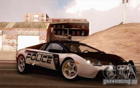 Lamborghini Murciélago Police 2005 для GTA San Andreas вид сбоку