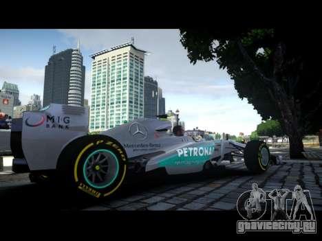 Mercedes F1 W04 для GTA 4 вид слева
