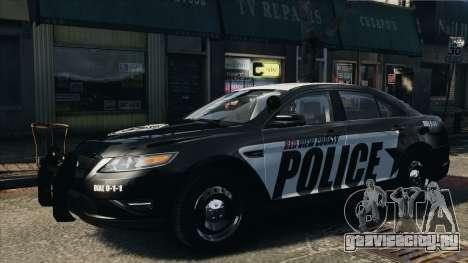 Ford Taurus Police Interceptor 2010 для GTA 4 вид сзади слева