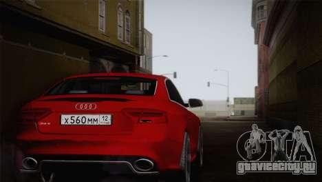 Audi RS5 2012 для GTA San Andreas вид сзади