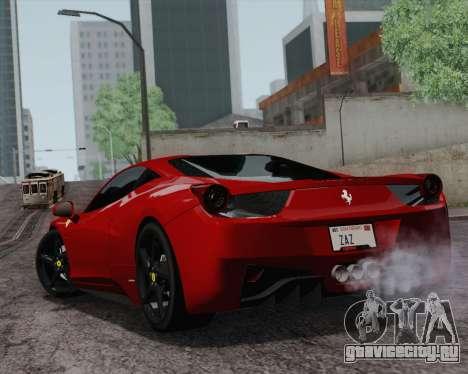 Ferrari 458 Italia 2010 для GTA San Andreas вид сзади слева