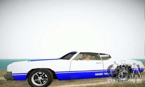 GTA IV Sabre Turbo для GTA San Andreas вид сзади слева