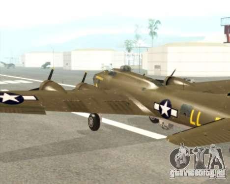 B-17G для GTA San Andreas вид изнутри