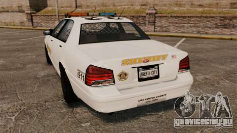 GTA V Police Vapid Cruiser Sheriff для GTA 4 вид сзади слева
