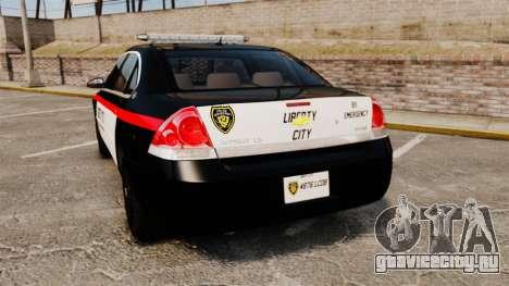Chevrolet Impala 2008 LCPD STL-K Force [ELS] для GTA 4 вид сзади слева