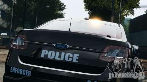 Ford Taurus Police Interceptor 2010 для GTA 4 вид сзади