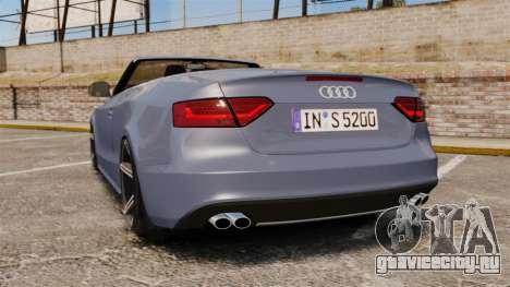 Audi S5 Convertible 2012 для GTA 4 вид сзади слева