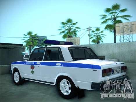 Lada 2107 Rendőrség для GTA San Andreas вид слева