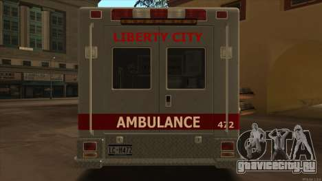 Ambulance HD from GTA 3 для GTA San Andreas вид справа