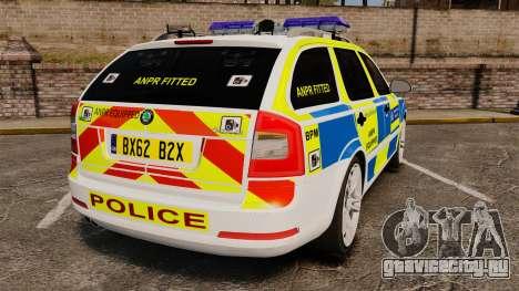 Skoda Octavia RS Metropolitan Police [ELS] для GTA 4 вид сзади слева