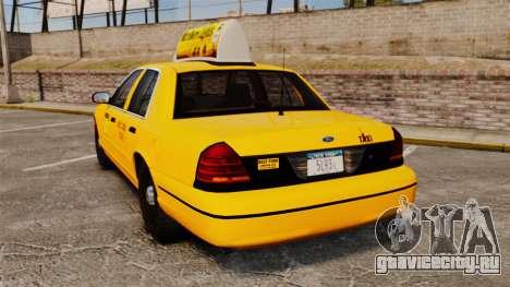 Ford Crown Victoria 1999 NY Old Taxi Design для GTA 4 вид сзади слева