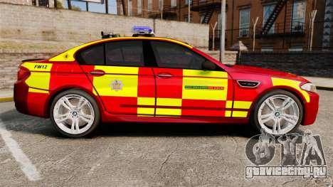 BMW M5 West Midlands Fire Service [ELS] для GTA 4 вид слева