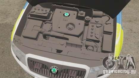 Skoda Superb 2006 Police [ELS] Whelen Justice для GTA 4 вид изнутри