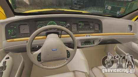 Ford Crown Victoria 1999 GTA V Taxi для GTA 4 вид сзади