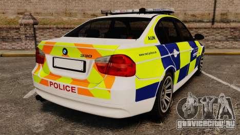 BMW 330i Metropolitan Police [ELS] для GTA 4 вид сзади слева