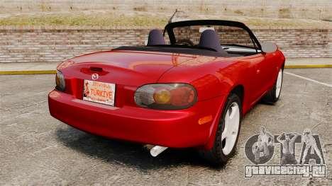 Mazda (Miata) MX-5 для GTA 4 вид сзади слева