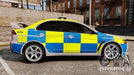 Mitsubishi Lancer Evolution X Police [ELS] для GTA 4 вид слева
