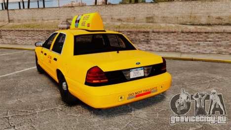 Ford Crown Victoria 1999 LCC Taxi для GTA 4 вид сзади слева