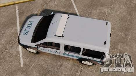Ford Transit Connect Turkish Police [ELS] для GTA 4 вид справа