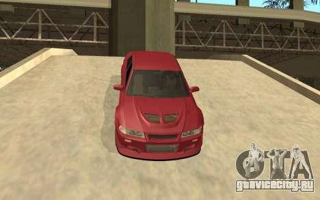 Mitsubishi Lancer Evolution VI для GTA San Andreas вид изнутри