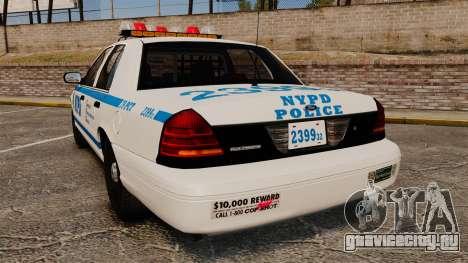 Ford Crown Victoria 1999 NYPD для GTA 4 вид сзади слева