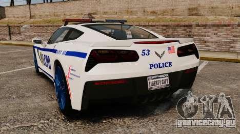 Chevrolet Corvette C7 Stingray 2014 Police для GTA 4 вид сзади слева