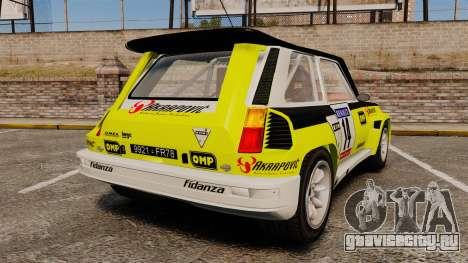 Renault 5 Turbo Maxi для GTA 4 вид сзади слева