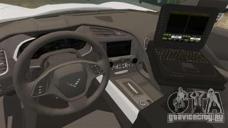 Chevrolet Corvette C7 Stingray 2014 Police для GTA 4 вид сзади