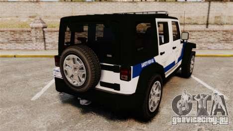Jeep Wrangler Rubicon Police 2013 [ELS] для GTA 4 вид сзади слева