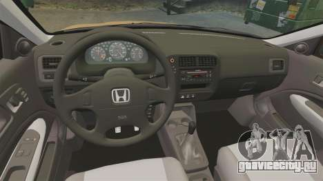 Honda Civic Si 1999 для GTA 4 вид изнутри