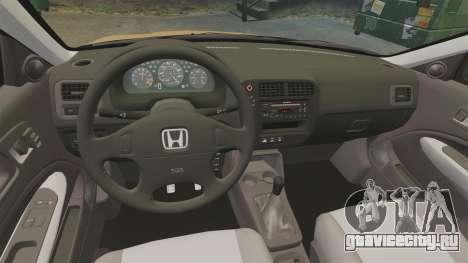 Honda Civic Si 1999 для GTA 4 вид изнутри